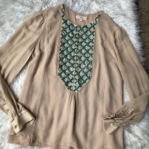 Tory Burch 100% Silk Embroidered Blouse